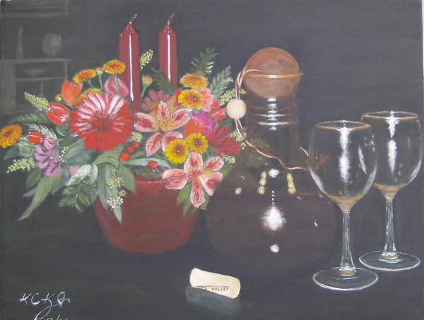Flower Arrangement Poster featuring the painting Celebrating 60 by KC Knight