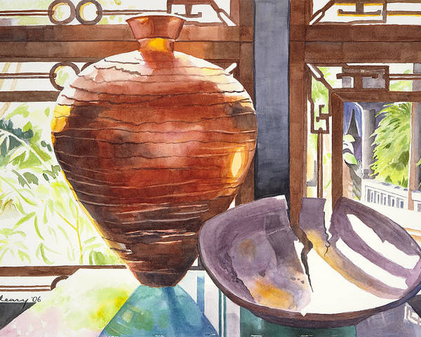 Still Life Poster featuring the painting Celestial Hall Pottery I by Melody Cleary