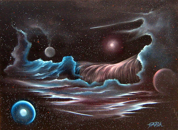 Visionary Poster featuring the painting Celestial Wave by David Gazda