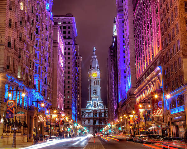 Horizontal Poster featuring the photograph Center City Philadelphia by Eric Bowers Photo