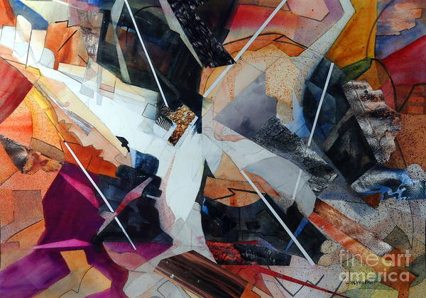 Abstract Poster featuring the painting Centerfold I by John W Walker