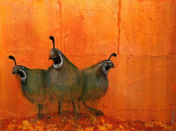 Oil Poster featuring the mixed media Central Oregon Quail by Patt Nicol