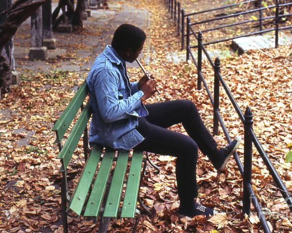 Erik Poster featuring the photograph Central Park Musician by Erik Falkensteen