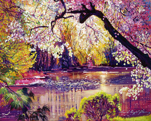 Landscape Poster featuring the painting Central Park Spring Pond by David Lloyd Glover