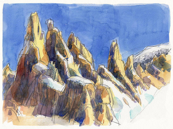 Landscape Poster featuring the painting Cerro Torre, Patagonia by Judith Kunzle