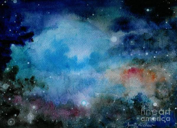 Atmospheric Poster featuring the painting Cerulean Space Clouds by Janet Hinshaw