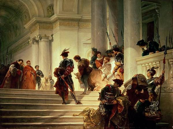 Cesare Poster featuring the painting Cesare Borgia Leaving The Vatican by Giuseppe Lorenzo Gatteri