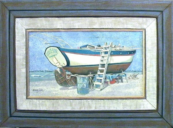 Boat Poster featuring the painting Ceul Ce Soir In Drydock Florida by Wendy Hill