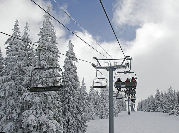 Chairlift Poster featuring the photograph Chairlift At Vail Resort - Colorado by Brendan Reals