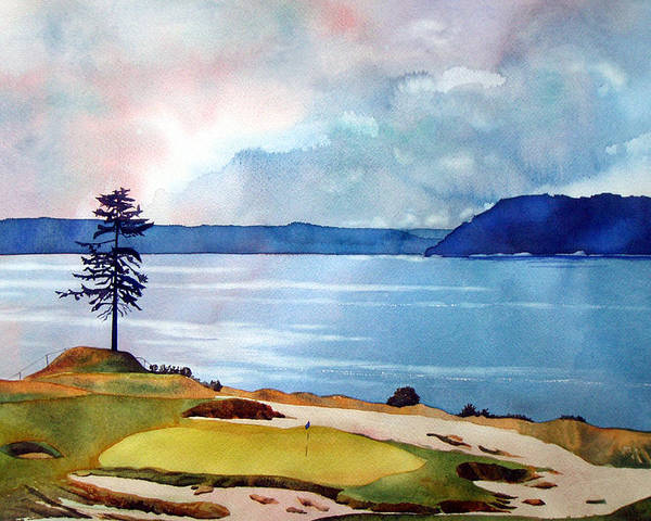 Transparent Watercolor Poster featuring the painting Chambers Bay 15th Hole by Scott Mulholland
