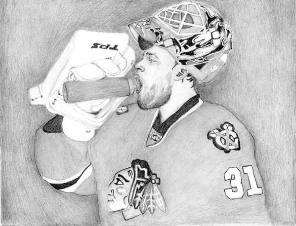 Antti Niemi Poster featuring the drawing Championship Goalie by Kiyana Smith