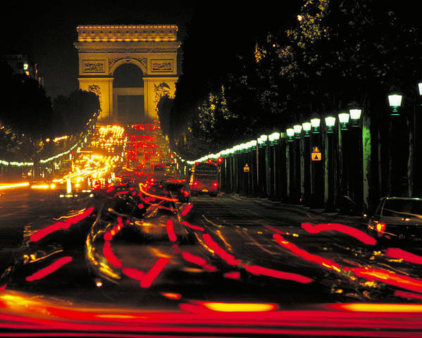 France Poster featuring the photograph Champs Elysee In Paris by Carl Purcell