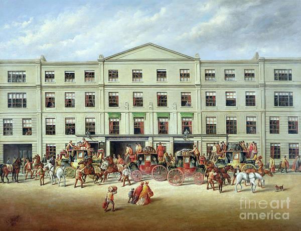 Changing Horses Outside The Plough Inn Poster featuring the painting Changing Horses Outside The Plough Inn by JC Maggs
