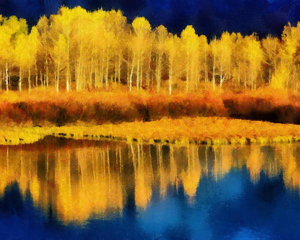 Aspen Poster featuring the painting Changing Seasons by Russ Harris