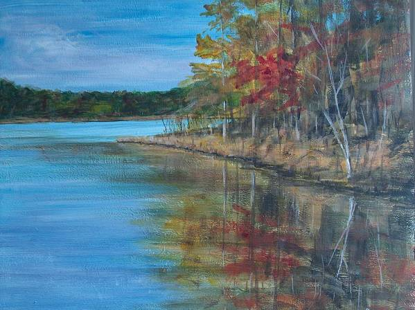 Fall Poster featuring the painting Channings Lake by Pete Maier