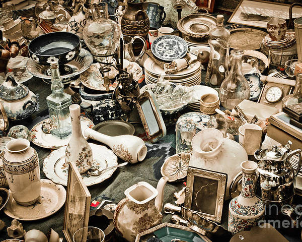 Old; Antique; Vintage; Retro; Background; Style; Art; Decor; Decorating; Decoration; Grunge; Antiquities; Object; Old-fashioned; Classic; Collection; Valuable; Junk; Together; Gathered; Poster featuring the photograph Chaos by Gabriela Insuratelu