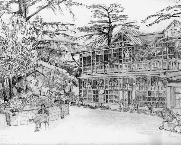 Landscape Poster featuring the drawing Charleville by Padamvir Singh