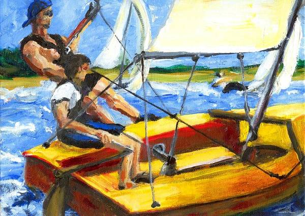 Coronado 15 Poster featuring the painting Charlies Race Boat by Randy Sprout