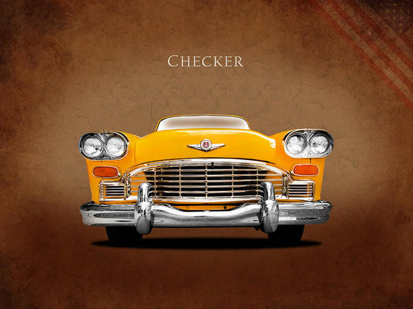 Checker Cab Poster featuring the photograph Checker Cab by Mark Rogan