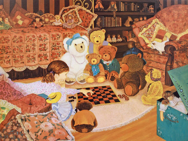 Teddy Bears Painting Poster featuring the painting Checker Mates by Susan Rinehart