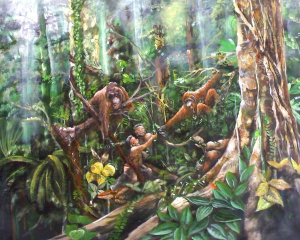 Orangutan Rainforest Humor Natives Porches Beer Drinking Peace Drunk Celebration Jungle Art Borneo Muyang Kumundan Painting Poster featuring the painting Cheers Brother by Muyang Kumundan