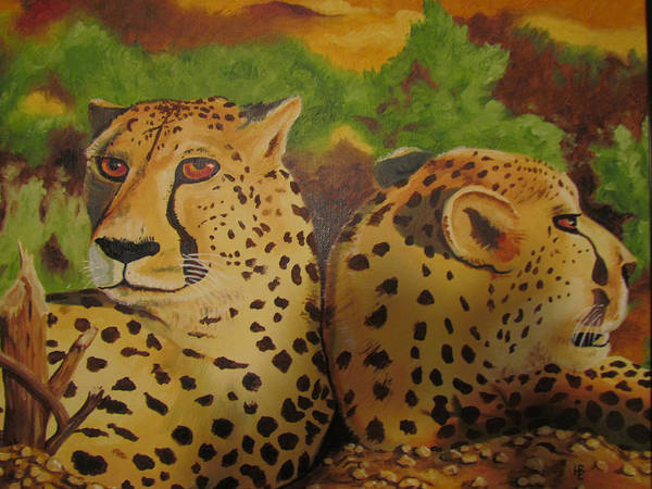 Cheetah Poster featuring the painting Cheetah 2 by Heather Bolliger