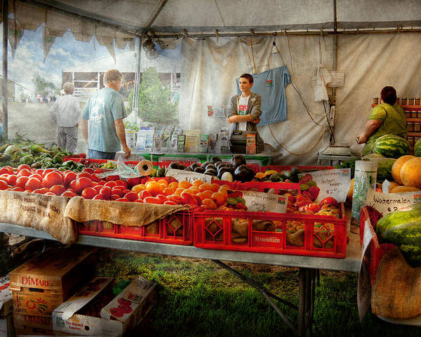 Chef Poster featuring the photograph Chef - Vegetable - Jersey Fresh Farmers Market by Mike Savad