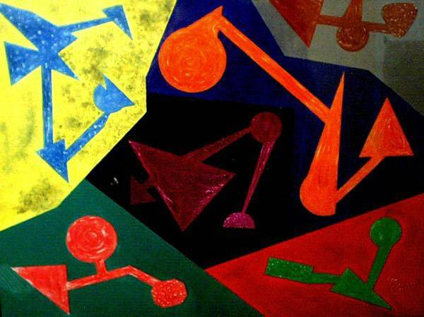 Abstract Poster featuring the painting Chemistry by Guillermo Mason