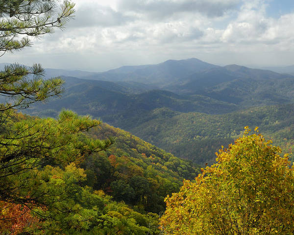 Scenic Poster featuring the photograph Cherohala Skyway In Autumn Color by Darrell Young