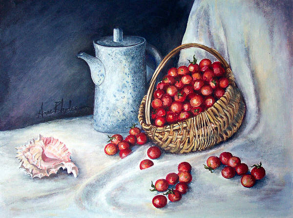 Still Life Poster featuring the painting Cherry Tomatoes by Anne Rhodes