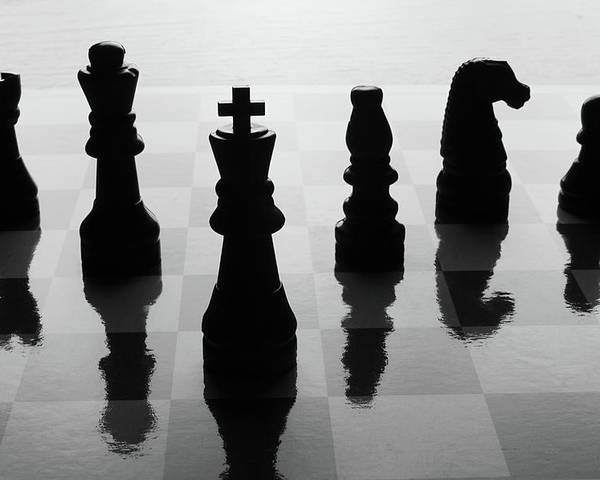 Horizontal Poster featuring the photograph Chess Board And Pieces by Jon Schulte