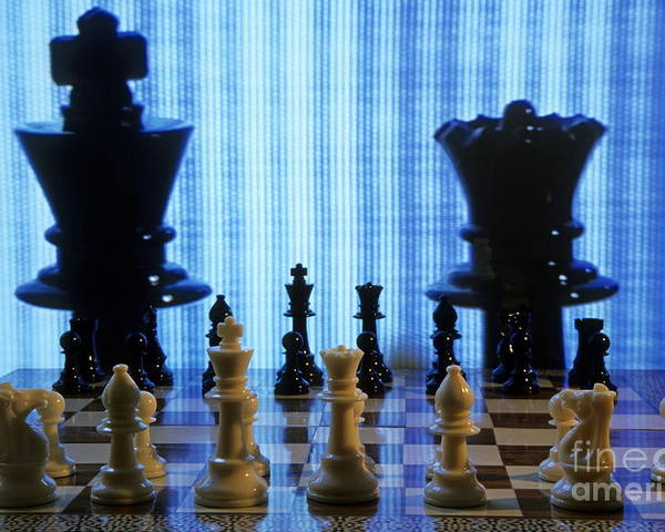 Reflective Poster featuring the photograph Chess Board With King And Queen Chess Pieces In Front Of Tv Scre by Sami Sarkis