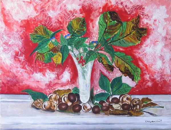 Still Life Poster featuring the painting Chestnuts by Vladimir Kezerashvili