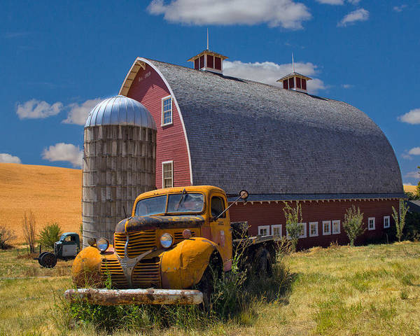 Truck Poster featuring the photograph Chevy By The Red Barn by Emil Davidzuk