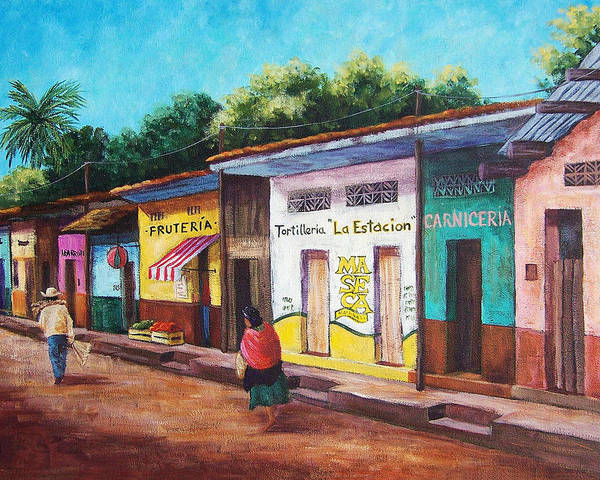 Landscape Poster featuring the painting Chiapas Neighborhood by Candy Mayer