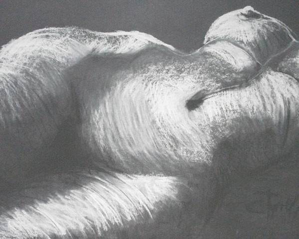 Original Poster featuring the drawing Chiaroscuro - Torso by Carmen Tyrrell