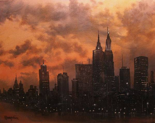 Cityscape Poster featuring the painting Chicago At Dusk by Tom Shropshire
