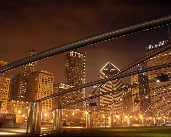 Hdr Poster featuring the photograph Chicago At Night by Andreas Freund
