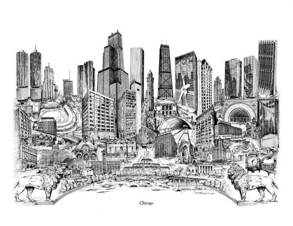 City Drawing Poster featuring the drawing Chicago by Dennis Bivens