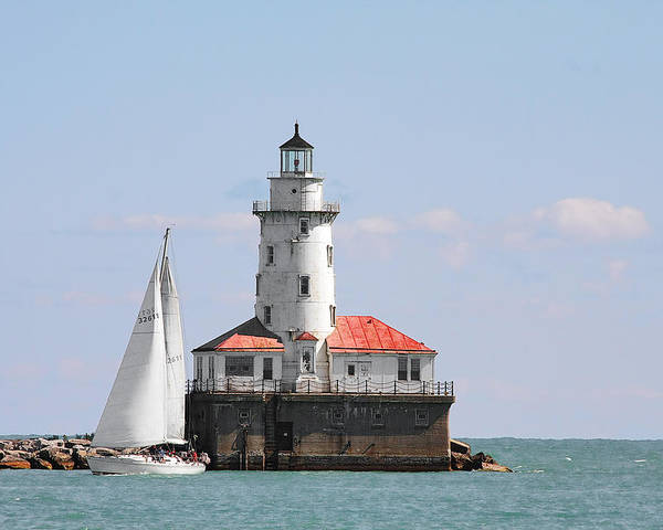Chicago Poster featuring the photograph Chicago Harbor Lighthouse by Christine Till