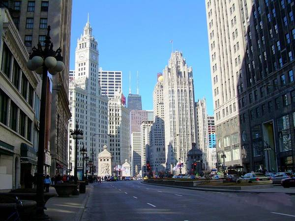 Chicago Poster featuring the photograph Chicago Miracle Mile by Anita Burgermeister