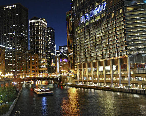 Chicago Poster featuring the photograph Chicago Night Lights by M Bernardo