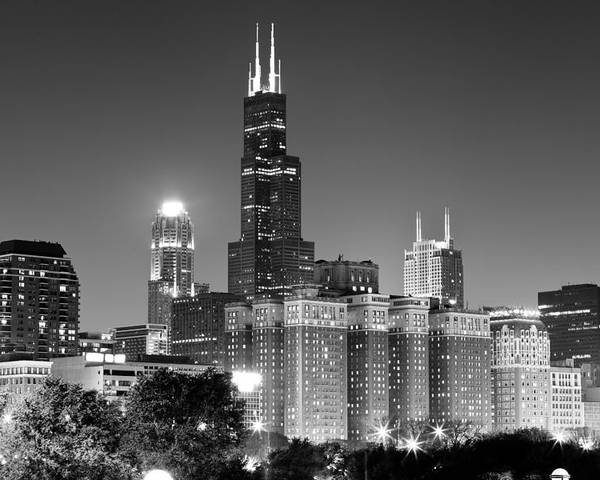At&t Poster featuring the photograph Chicago Night Skyline In Black And White by Paul Velgos