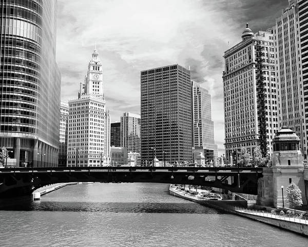 Bridge Poster featuring the photograph Chicago River Buildings Skyline by Paul Velgos