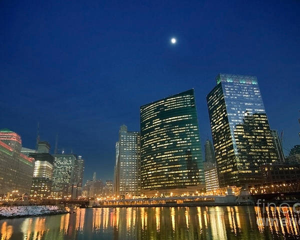 Chicago Skyline Poster featuring the photograph Chicago River With Skyline And Moon by Sven Brogren