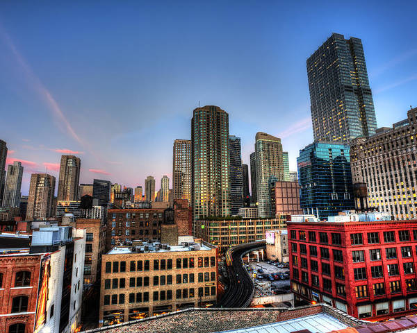 Chicago Poster featuring the photograph Chicago Rooftop and Sunset by Shawn Everhart