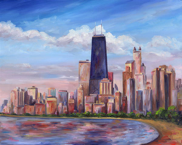 Chicago Poster featuring the painting Chicago Skyline - John Hancock Tower by Jeff Pittman