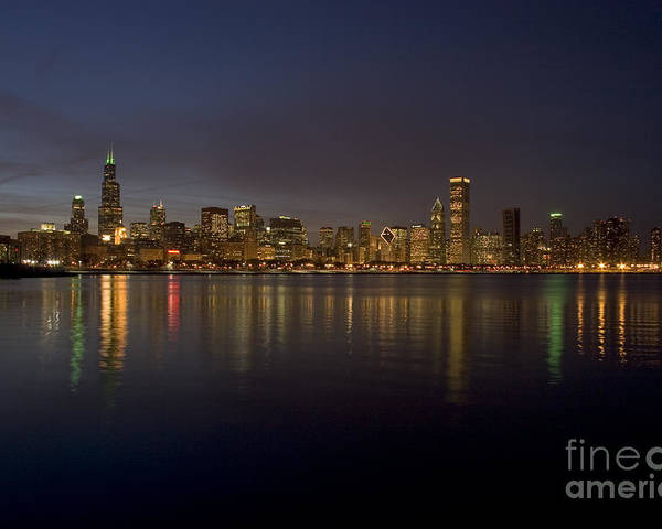 Chicago Poster featuring the photograph Chicago Skyline by Timothy Johnson