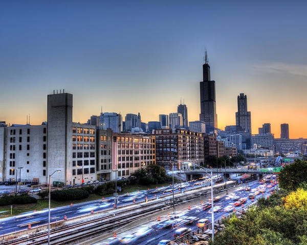 Chicago Poster featuring the photograph Chicago Sunrise Rush Hour by Shawn Everhart