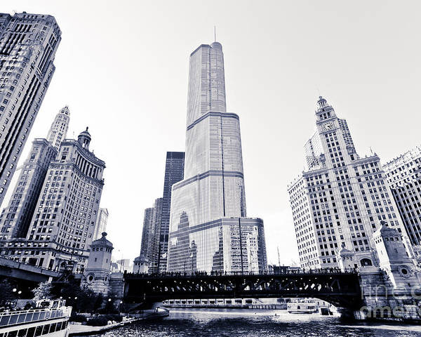 America Poster featuring the photograph Chicago Trump Tower And Wrigley Building by Paul Velgos